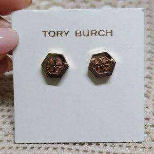 NEW Tory Burch Hex Logo Stud earrings